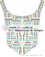 311 copper studs neckline hot-fix heat transfer rhinestone motif design 3