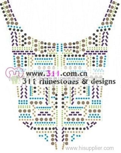 311 copper studs neckline hot-fix heat transfer rhinestone motif design 3