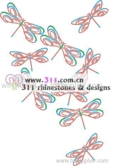 311 dragonfly hot-fix heat transfer rhinestone motif design 1