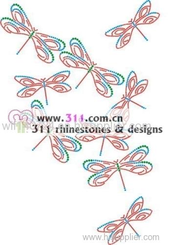 311 dragonfly hot-fix heat transfer rhinestone motif design 1