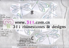 311 dragonfly hot-fix heat transfer rhinestone motif design 2