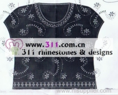 311 iron on pearl hot-fix heat transfer rhinestone motif design 1