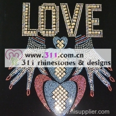 311 letters hot-fix heat transfer rhinestone motif design 2