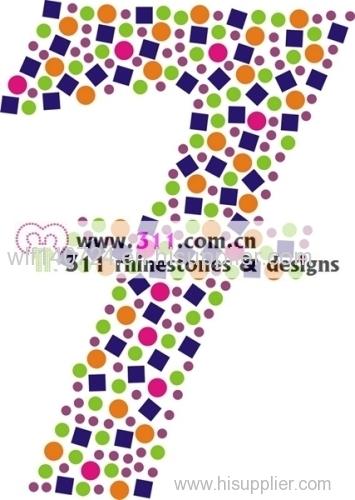 311 numbers hot-fix heat transfer rhinestone motif design 1
