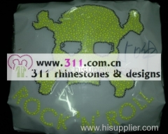 311 skull lumi studs hot-fix heat transfer rhinestone motif design 2