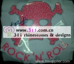 311 skull lumi studs hot-fix heat transfer rhinestone motif design 3