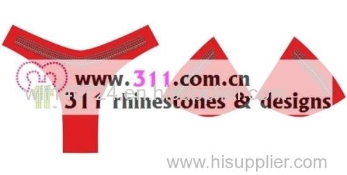 311 underwear hot-fix heat transfer rhinestone motif design 2