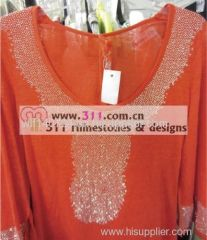 311-neckline hot-fix heat transfer rhinestone motif design2
