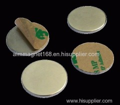 Rare earth disc magnet with backed adhesive