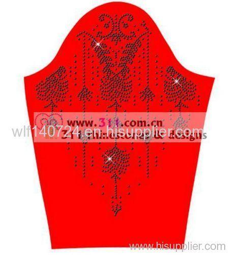 311 necklinehot-fix heat transfer rhinestone motif design 1