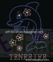 311 animal Dolphin hot-fix heat transfer rhinestone motif design
