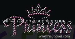 311An crown hot-fix heat transfer rhinestone motif design