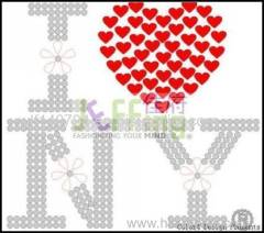 311 letter heart hot-fix heat transfer rhinestone motif design
