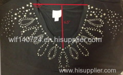 peacock neckline hot-fix heat transfer rhinestone motif design