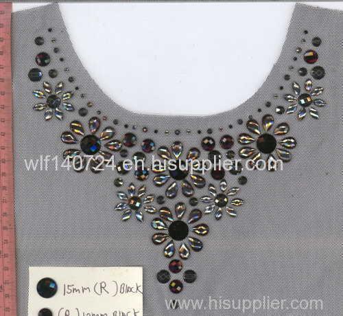 311 neckline hot-fix heat transfer rhinestone motif design