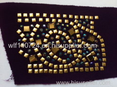311 gold hot-fix heat transfer rhinestone motif design