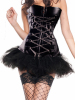 chain front black leather corset with tutu skirt