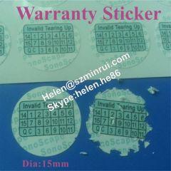 destructible paper date warranty sticker