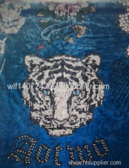 311 tiger hot-fix heat transfer rhinestone motif design