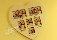 countryside / heart-shaped / wood photo frame