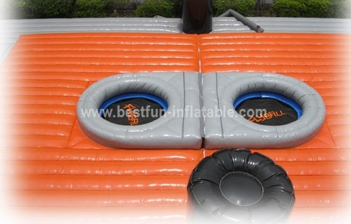 Inflatable bossaball game court