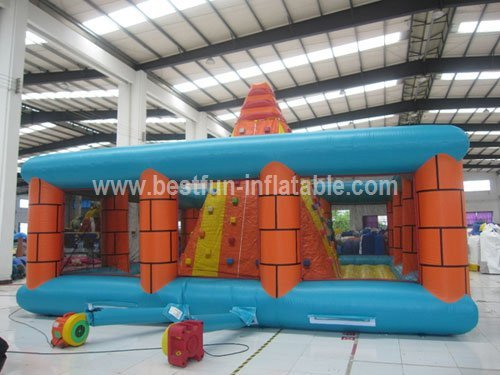 Interactive pyramid inflatable rock climbing wall