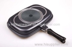 non stick 36cm double fry pan aluminum cast