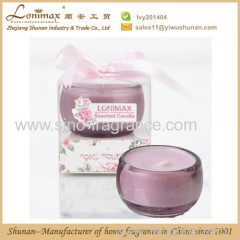 scented candle with rose aroma