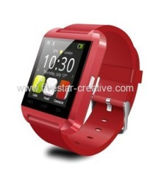New Uwatch U8 Smart Bluetooth Watch Touch Screen With Mic for Android Devices Red
