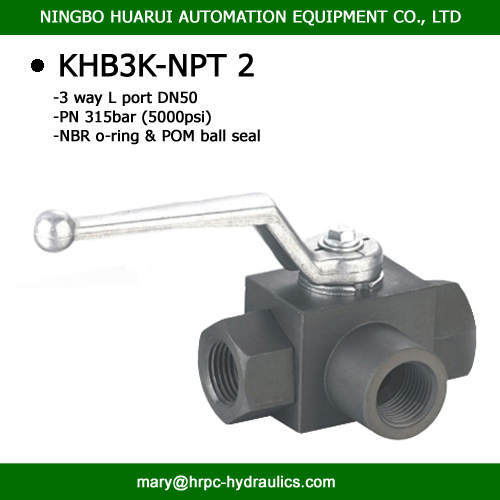 BK3-NPT2 high pressure 3 way L port or Tport female thread ball valve