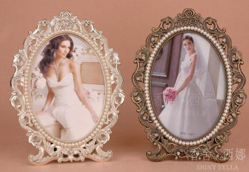 oval / marriage / metal / creative / pearl photo frame