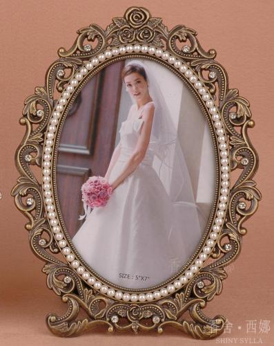 marriage / metal / oval / creative / pearl photo frame