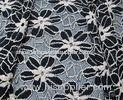 Black / White Knitted Elastic Lace Fabric Spandex with Two Tone Sunflower Lace for Lady Garment(CY-D