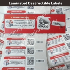 Laminated One Time Use Destructible Barcode Labels