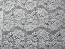 White Digital Nylon Lace Fabric Flower Design For Dress With Swiss Lace