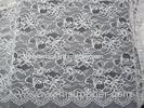 White Nylon Lace Fabric Floral Knitted With Border Lace & Scallop Edge