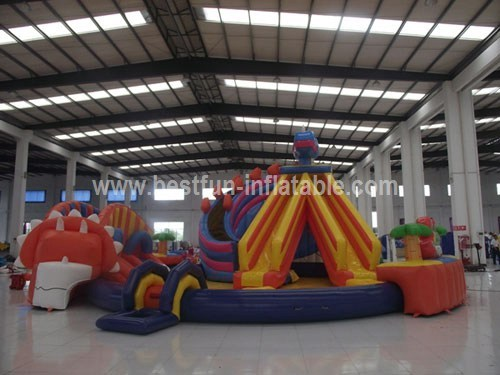 Dinosaurs inflatable water park with swimming pool