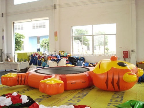 Tiger inflatable floating water trampoline