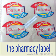 custom die cut permanent adhesive label pharmacy shop or store