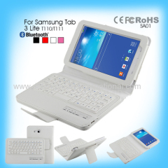 2014 High Quality Leather Bluetooth Keyboard Case for Samsung Tab 3 Lite T110/T111