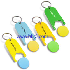 Promotional plastic coin holder with keychain for 1 EURO