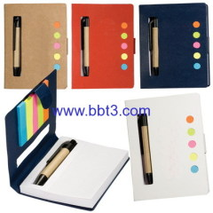 Promotional eco-friendly sticky notes pad with ballpoint pen