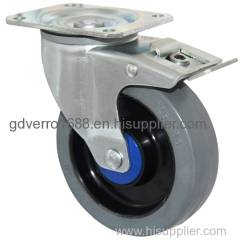 5 inches ball bearing elastic rubber casters with brakes