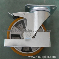 Industrial PU tread heavy duty casters with aluminum core and footguards