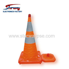 Retractable traffic cone with LED flash light