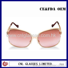 Golden Metal Fashion Red Italian Sunglasses with Diamonds
