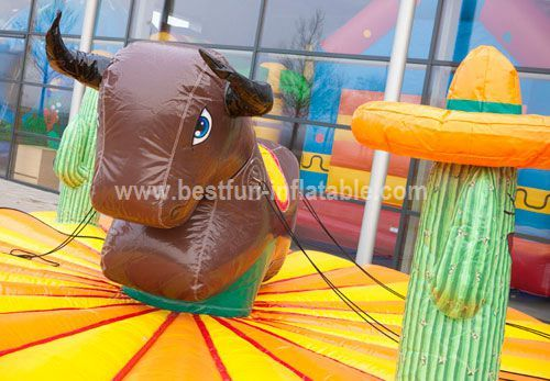 Adult inflatable bull rodeo