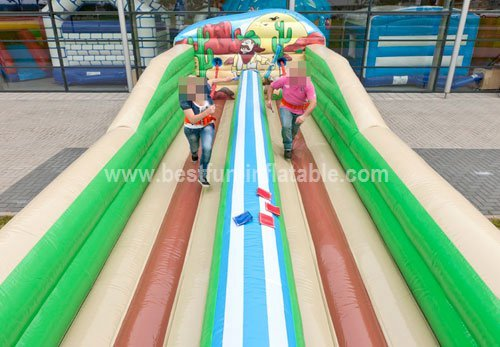 Inflatable bungee run for carnival games