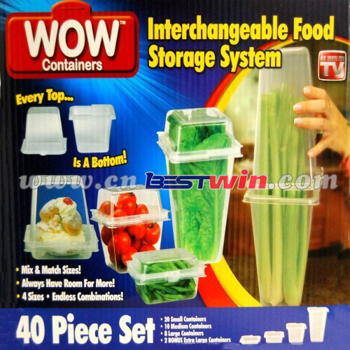 Wow keep fresh box food container/wow container for 20pcs or 40pcs