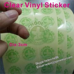 3CM Diameter Round Clear Vinyl Sticker Print with Logo Self Adhesive Plastic Label Custom